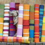 BAREFOOT. Rolls of hand woven cloth designed by BAREFOOT